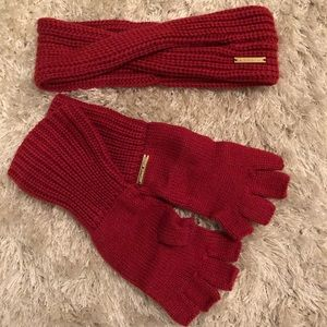 Michael Kors Knit Headband and Fingerless Gloves